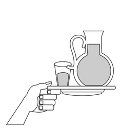glass pitcher and cup with liquid on plate icon vector image