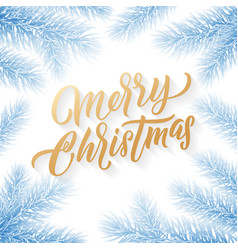 gold merry christmas text on snow background vector image