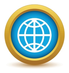 Gold world icon vector image