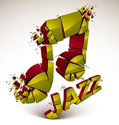 Golden 3d musical note broken into pieces vector
