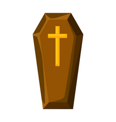 happy halloween coffin with cross vector image