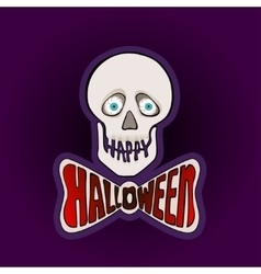 Happy Halloween sticker with skull on a purple vector