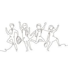 Happy schoolchildren - one line design style vector