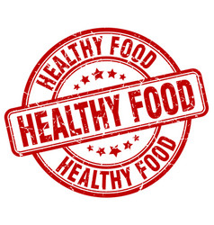 healthy food red grunge round vintage rubber stamp vector image