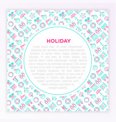 holiday concept with thin line icons sun yacht vector image