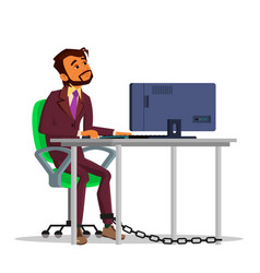 Indian chained businessman working on laptop at vector