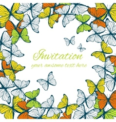 Invitation card template with butterfly ornament vector image