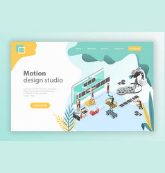 Isometric flat landing page template for vector