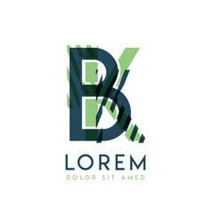 kb colorful logo design with green and dark green vector image