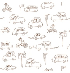 Kids and cars seamless pattern vector image