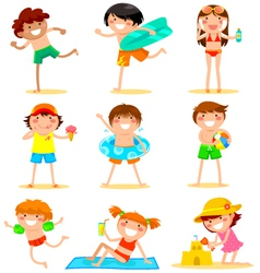 kids at beach vector image