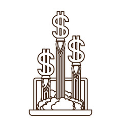 latop screen with dollar rocket isolated icon vector image