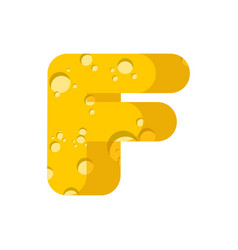 letter f cheese font symbol of cheesy alphabet vector image