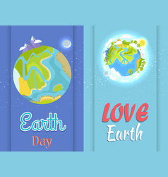 love earth day poster with planet in night and day vector image
