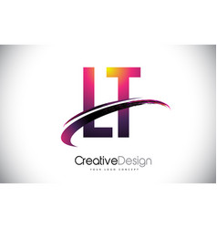Lt l t purple letter logo with swoosh design vector