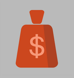 money bag square flat icon vector image