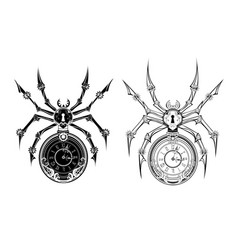 monochrome mechanical spider vector image