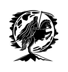Moon and horseman death with a scythe vector