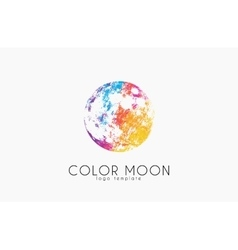 Moon logo design Color moon Cosmic logo Space vector image