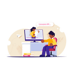 online education people sits at a desk while vector image