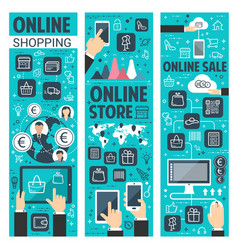 Online shopping banners for internet retail vector