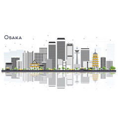 Osaka japan city skyline with color buildings and vector