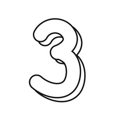 Outlined number three on white background vector