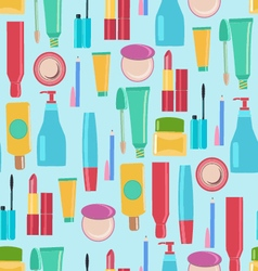Pattern with Beauty and cosmetics tools vector