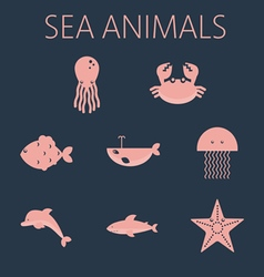 Pink sea animal set in outlines vector image