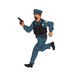 policeman or guard man with weapon running sketch vector image