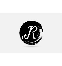 R letter logo alphabet on grunge circle in black vector