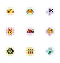 Race and awarding icons set pop-art style vector
