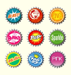 Retro bottle cap designs 1 vector