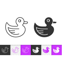rubber duck kid game simple black line icon vector image