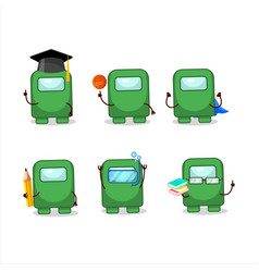 School student among us green cartoon vector