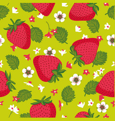 seamless pattern with strawberries leaves and vector image
