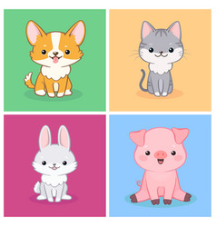 set cute animal on multicolored background vector image