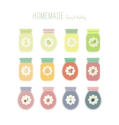 Set of jam jars with labels vector