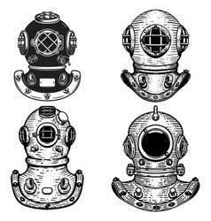 set of retro style diver helmets design elements vector image