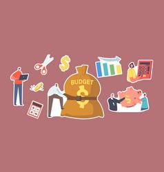 Set stickers budget deficit tiny businessman vector
