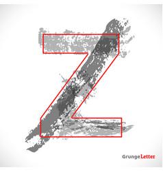 stylized grunge logo letter z brush strokes vector image