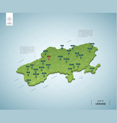stylized map ukraine isometric 3d green map vector image