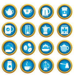tea and coffee icons blue circle set vector image