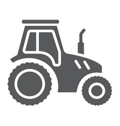 tractor glyph icon farming and agriculture vector image