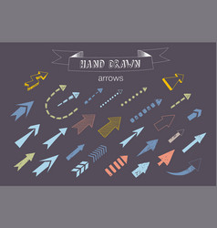 unique collection of hand drawn arrows vector image