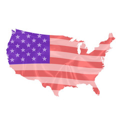 usa map silhouette silk flag vector image