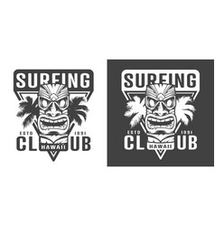 Vintage hawaiian surfing club logotype vector