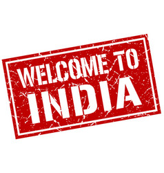welcome to india stamp vector image
