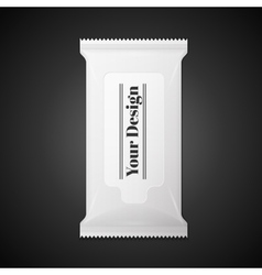 White wet wipes package isolated on black vector image