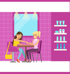 Woman getting a hand massage in beauty salon vector